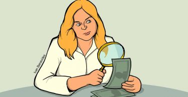 Woman examines whether money is real or fake with a magnifying glass as she learns how to win a sweepstakes contest (illustrated)