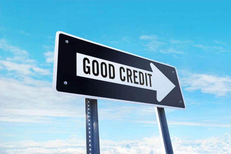 good credit ahead street sign