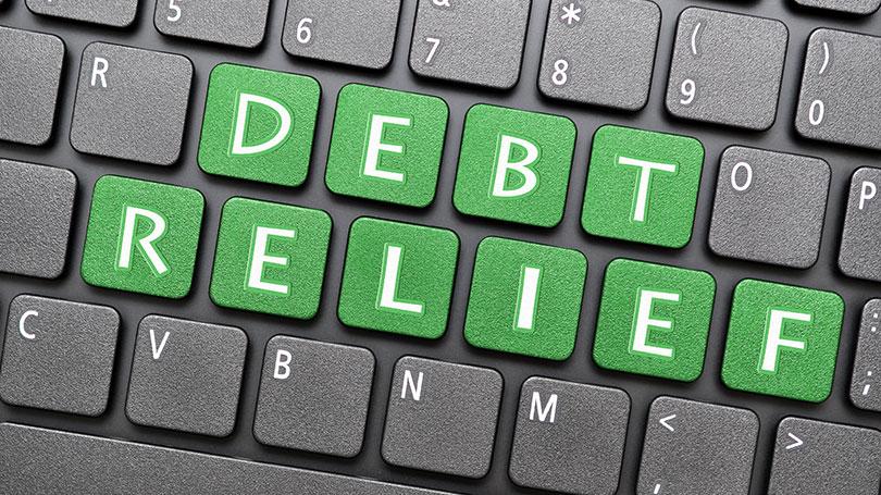 Debt relief on keyboard