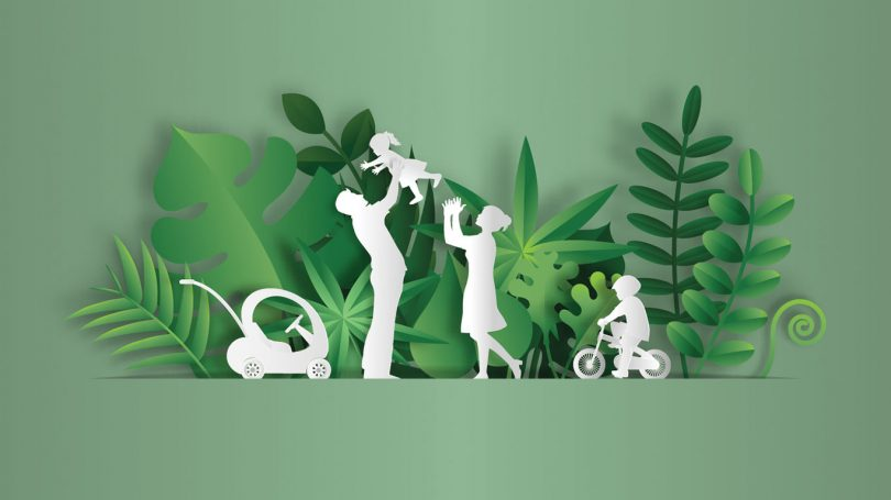 Paper art style of landscape with family enjoy fresh air in the park