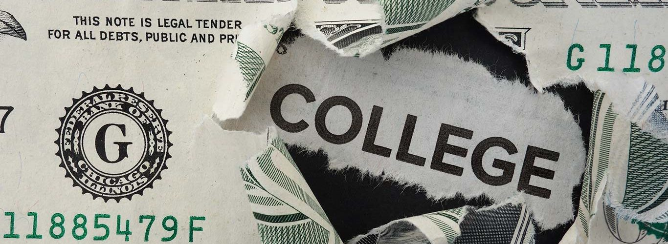 Paper headline with College text in torn dollar bill